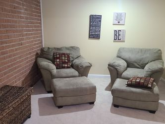 Set of Microsuede Lounge Chairs with Matching Ottoman for Sale in Washington,  DC
