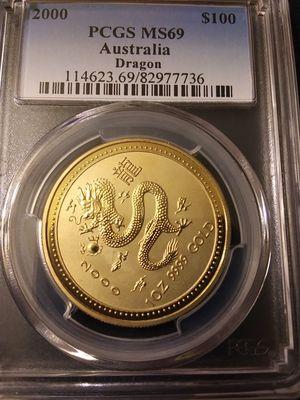 1 Oz Gold 2000 Australia Dragon PCGS Graded MS69 for Sale in Chicago, IL