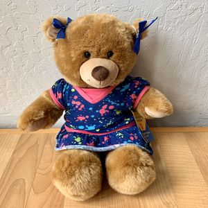 Build-A-Bear Workshop 1st Edition Plush Brown Teddy Bear Stuffed Animal Plush Wearing A Colorful Dress for Sale in Elizabethtown, PA