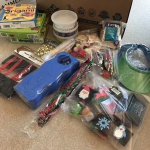 Big box full of arts and crafts material, paint, origami, beads, paper, etc most are new for Sale in Silver Spring, MD