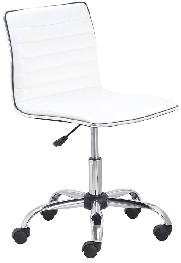 White Leather Square Back Swivel Office Chair desk chair vanity hair office chair conference chair makeup chair task chair vanity chair NEW IN BOX
