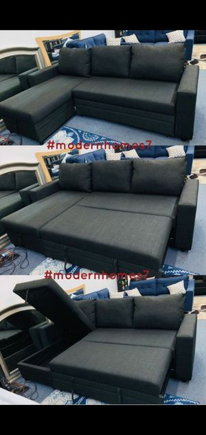 Black sectional sofa with pullout bed and large storage ikea style for Sale in Buena Park, CA