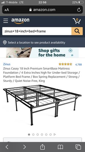 King size metal frame Zinus 18 inch for Sale in Dallas, TX