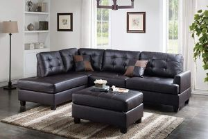 ESPRESSO BONDED LEATHER SECTIONAL SOFA REVERSIBLE CHAISE OTTOMAN / SILLON SECCIONAL for Sale in Temecula, CA