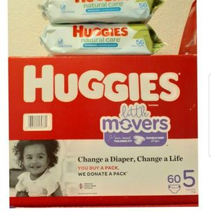 Huggies Little Movers Size 5 And Wipes for Sale in Los Angeles, CA