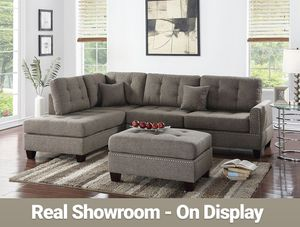 Real Showroom 😁 We Finance - Coffee Reversible Chaise Couch Sofa Sectional With Ottoman for Sale in Downey, CA