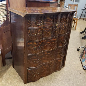 Beautiful Vintage Dark Tiger Oak Tallboy Dresser - Delivery Available for Sale in Tacoma, WA