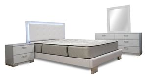 Glossy White BEDROOM SET with LED LIGHT for Sale in Hollywood, FL