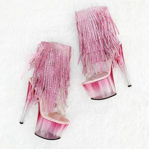 NWOT PLEASER Pink Ombré Exotic Rhinestone Fringe Platform Ankle Booties for Sale in Anaheim, CA