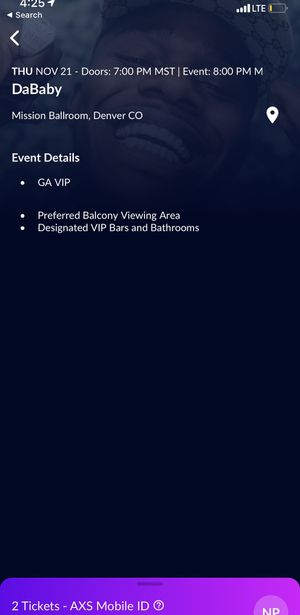 DaBaby VIP Tickets - Denver, CO - November 21 for Sale in Warren Air Force Base, WY