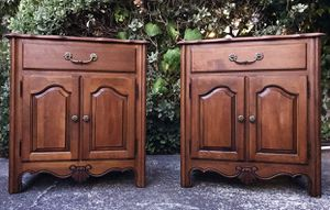 Gorgeous High-End French Country Ethan Allen Nighstands/Emd-Side Tables with Gorgeous Details and Hardware!! Looks NEW Still!! 27W 28H 18D for Sale in Mountain View, CA