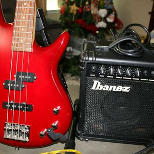 Ibanez Gio Soundgear Electric Bass Guitar Red with Guitar amplifier stand strap for Sale in Pflugerville, TX