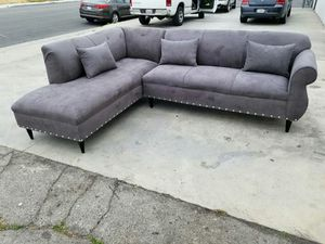 NEW 7X9FT CHARCOAL MICROFIBER SECTIONAL CHAISE for Sale in San Diego, CA