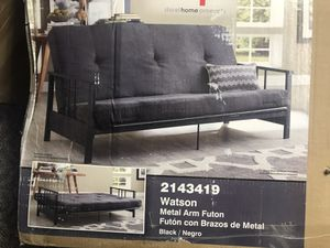 """Essential Home Watson Black Metal Arm Futon with 6"""" Microfiber Mattress, Gray for Sale in Halethorpe, MD"""