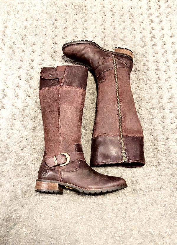 Timberland Bethel Buckle boots paid $225 size 8 Great condition! Color Burgundy/Red Leather. Adjustable buckle just under knee. 100% Leather, Rubber