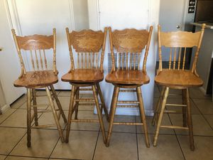 Vintage wooden high rotating bar chairs for Sale in North Las Vegas, NV