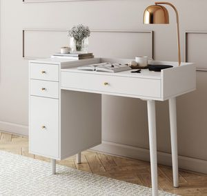 White and Gold Makeup Desk with 4 Drawers and Brass Accent Knobs for Sale in Ontario, CA