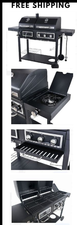 Barbecue Grill Smoker Dual Gas Charcoal Stainless Steel Outdoor Patio Bbq Cooking Accessories Burner for Sale in Henderson, NV