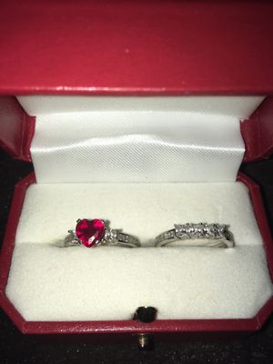 New Ruby Heart Wedding Ring Set for Sale in Mebane, NC