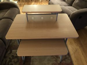 Bi-level Desk with Sliding Keyboard Tray for Sale in Robbinsville, NJ