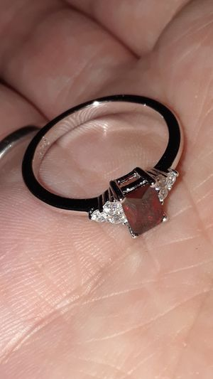 Emerald Cur Red Garnet Cubic Zirconia Ring Solid Sterling Silver Size 6 for Sale in Vancouver, WA