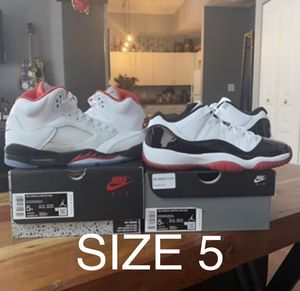 Nike Air Jordan 5 Fire Red Retro 11 Bred size 5 for Sale in Cleveland, OH
