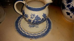 Antique blue and white china pitcher and plate for Sale in Grosse Pointe Park, MI