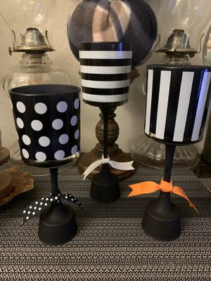Black and White Stripes and Polka Dot Glass Candle Holders - Set of 3 for Sale in Tacoma, WA