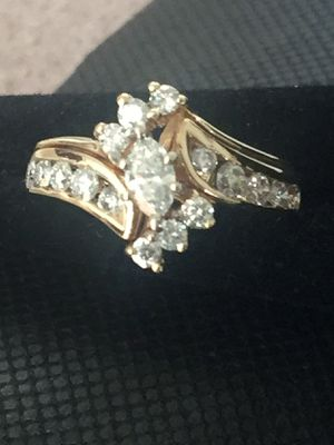 14k Yellow Gold Marquise Cut Natural 85ctw Diamond Wedding Set for Sale in Santa Ana, CA