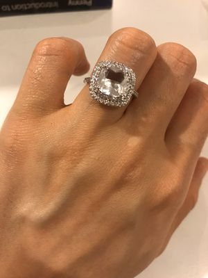 ✨ ON SALE✨ STAMPED 925 Sterling Silver Gigantic Square Cut - Diamond Ring 💍 for Sale in Dallas, TX