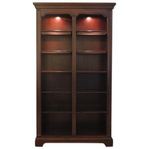 Costco beautiful large bookshelf dark brown with glasses and lights for Sale in Tacoma, WA