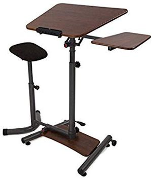 Teeter Sit-Stand Desk - Adjustable height ergonomic workstation with stool, side table, and foot platform. for Sale in Las Vegas, NV