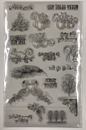 20 Piece Clear Cling Stamp Set - Squirrels, Peacocks, Multiple Sentiments for Sale in Rives Junction, MI