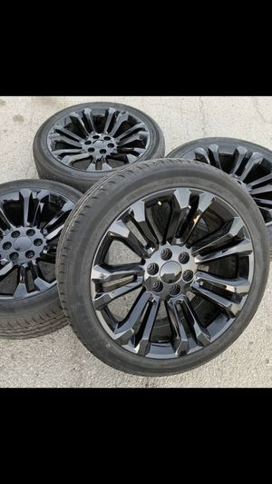 "For sale or trade New 22 inch Rims and New tires with warranty. 6 Lug Wheels 22"" Rines y llantas Chevrolet Silverado Tahoe Avalanche GMC Sierra Yukon for Sale in Dallas, TX"