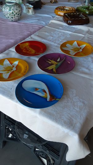 Givenchy plates Les Fleurs de parfums Set of 5 beautiful colorful flowers. for Sale in Sun City, AZ