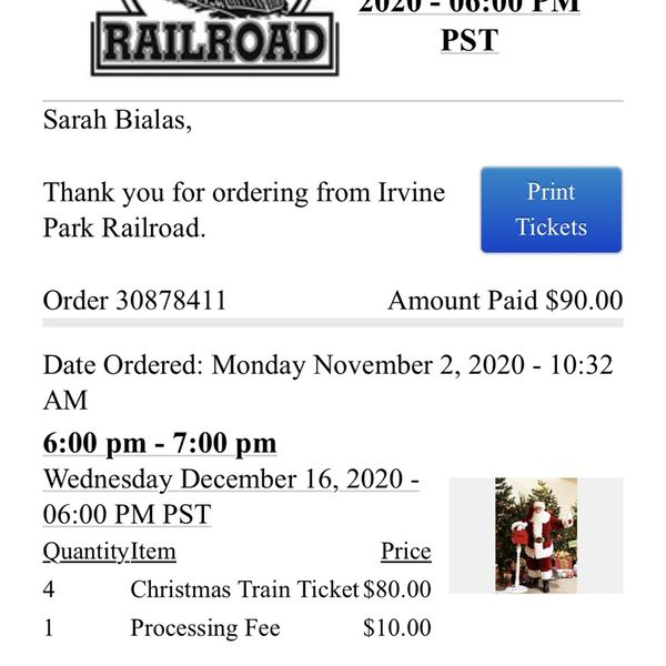 Irvine Railroad Christmas Train