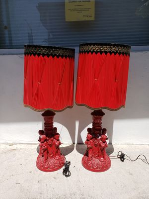 Red cherub lamps w/shades for Sale in Fort Lauderdale, FL