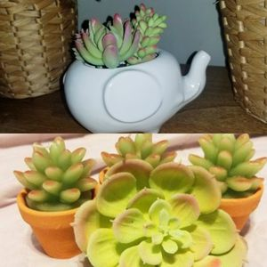 Faux Succulent Elephant Planter, Clip & Candles LOT for Sale in San Diego, CA