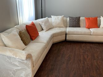 Schweiger palm tree brocade 3 Piece sectional couch White and Chair with Ottoman for Sale in Westampton,  NJ