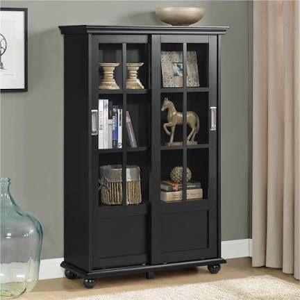 Black Sliding Door Bookcase (Blue & White Available)