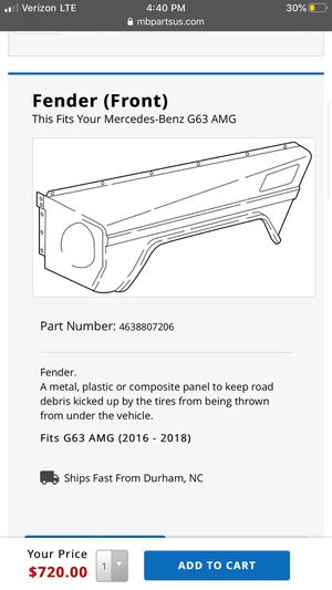 G wagon fender 2006-2018 both sides for Sale in Los Angeles, CA