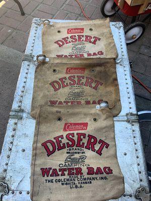 Vintage Coleman water bags camping display killer bags for Sale in Pomona, CA