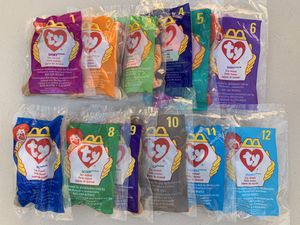 """McDonalds 1993 """"ty"""" Beanie Babies Happy Meal Toys Set of 12 Brand New Unopened Bags for Sale in Henderson, NV"""