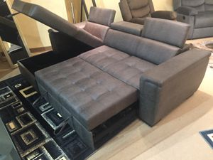 Sectional Sofa with Pull Out Bed and Adjustable Headrest, Grey for Sale in Santa Fe Springs, CA