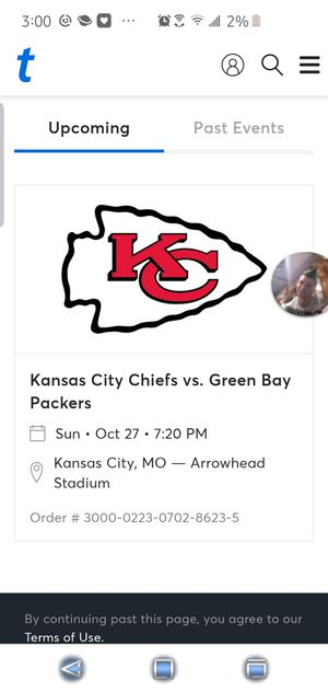 Kansas city chiefs packers tickets 1 left for Sale in Brunswick, OH