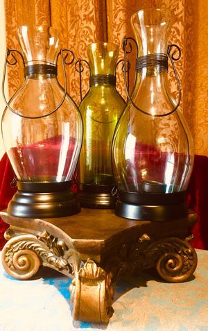 Set 3 tea lighr candle holders Decorative home terrace accents H12xW5 inch for Sale in Chandler, AZ