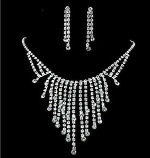 Sparkle White Diamonds Rhinestone Crystal Tassel Necklace Earring Wedding Jewelry Sets for Sale in Fort Lauderdale, FL