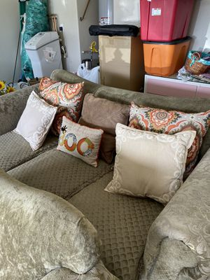 Couch, over-sized chair, pillows, and ottoman 🥰 Garage sale Saturday!! Msg for address!! for Sale in Phoenix, AZ