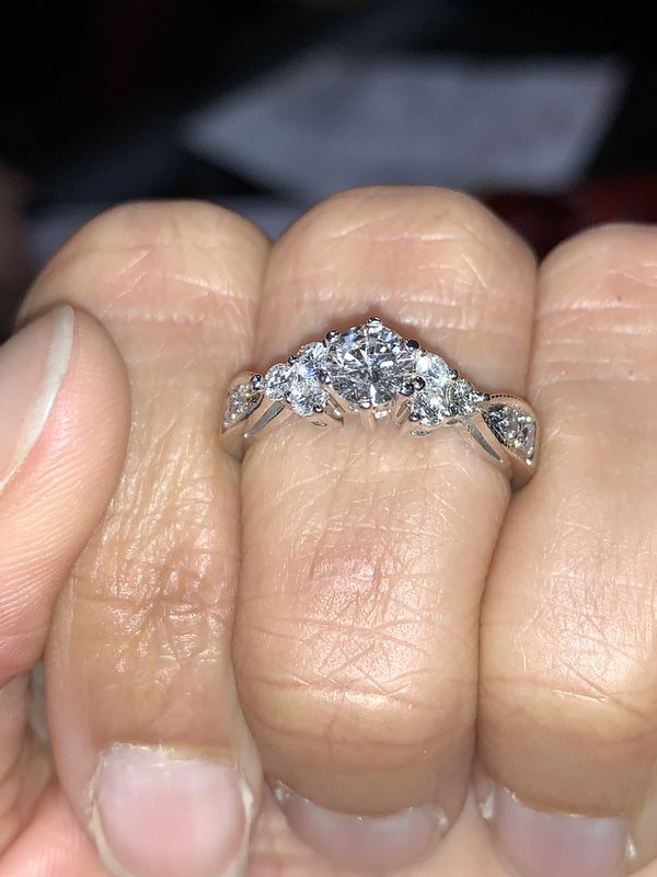 14K White Gold Engagement ring with wedding band size 5.5