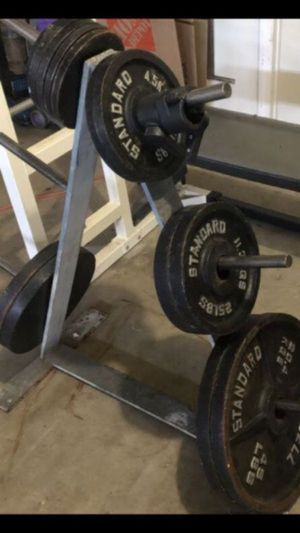 FULL MATCHING OLYMPIC WEIGHTS SET AND BAR + TREE for Sale in San Diego, CA